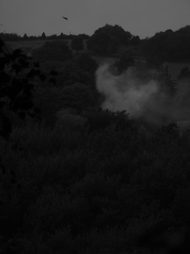 Smoke catches light.